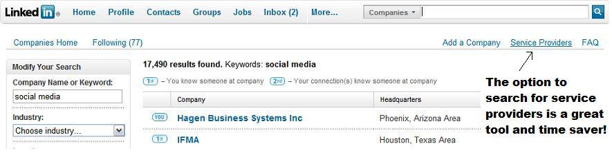 LinkedIn Search for Service Providers
