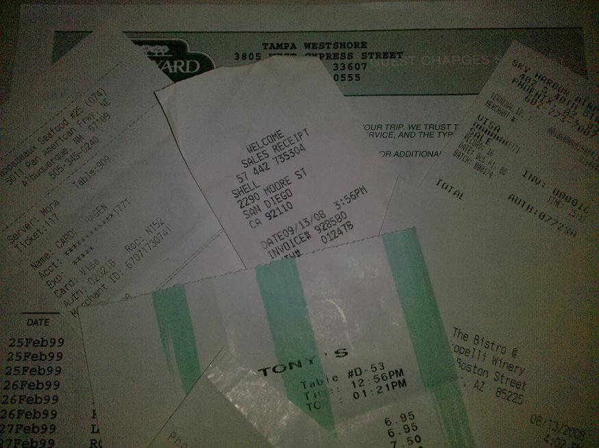 travel and expense receipts