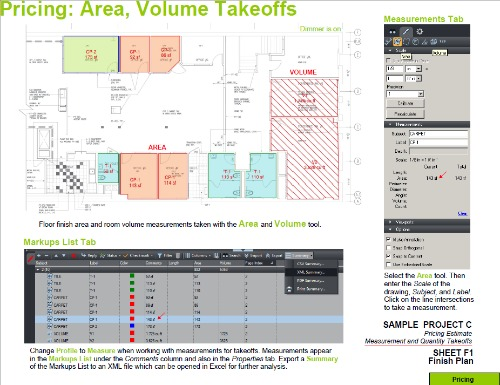 Estimating Takeoff with BlueBeam PDF Area Volume