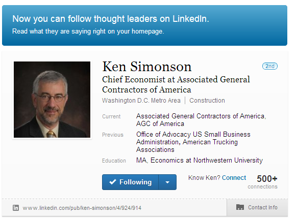 Construction Thought Leader on LInkedIn, Ken Simonson