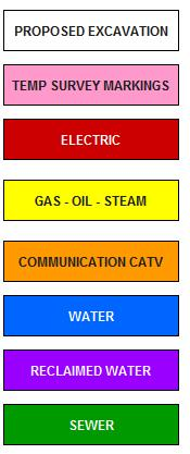 Publc works Color Codes for Underground Utilities