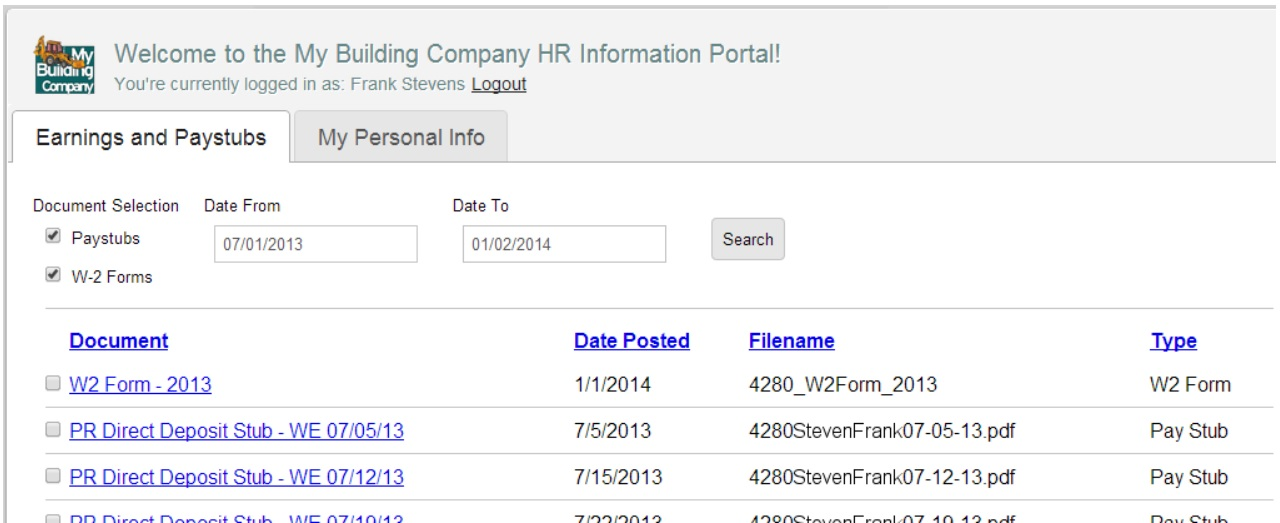 Paystubs and Earnings on an Employee Portal
