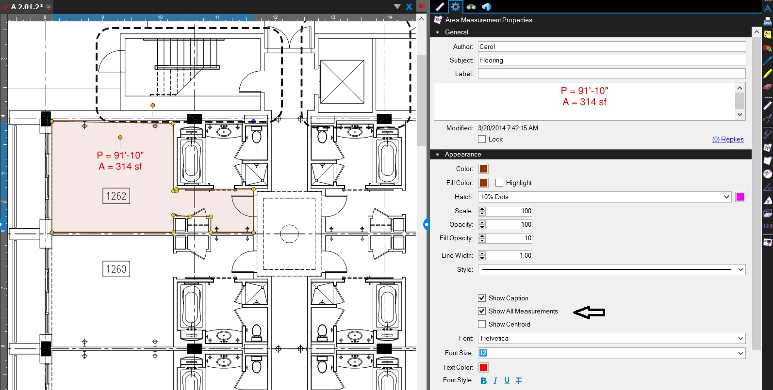 How to make area and perimeter measurements display in Bluebeam Revu