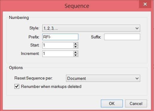 RFI Prefix for an autosequencing RFI text box
