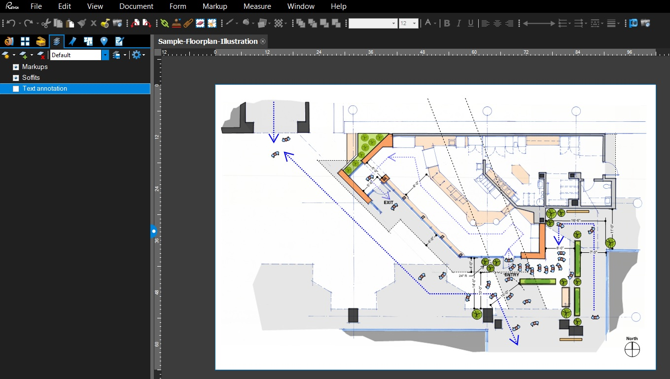 Markups added to the Floorplan illustration, these Custom Tools created in Bluebeam