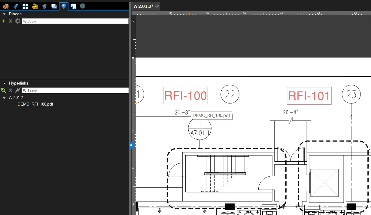 Hyperlinked RFI on a plan in Bluebeam Revu