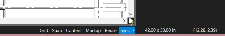 Status Bar in Revu has Reuse, Snap, Sync, etc