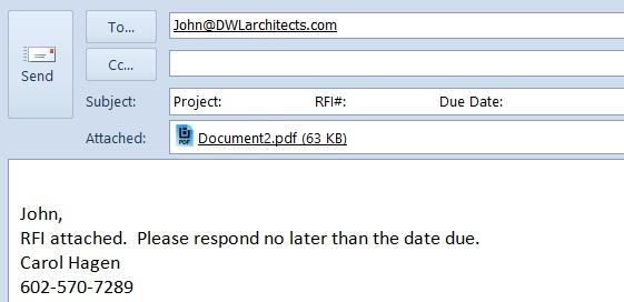 Bluebeam email template prefills