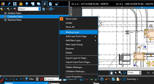 Assigning a default Markup Layer in Bluebeam Revu