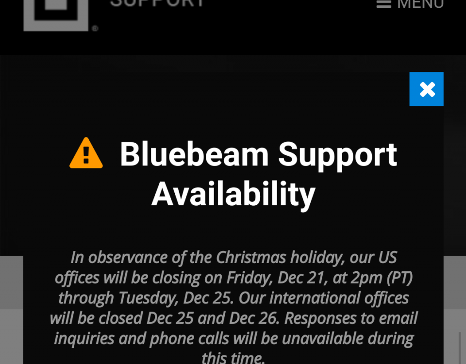 Bluebeam Revu phone support on Christmas Eve 2018