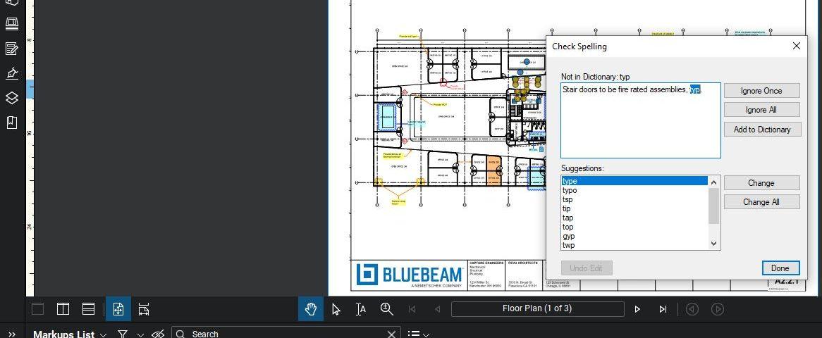Bluebeam Spell Check Dialogue box