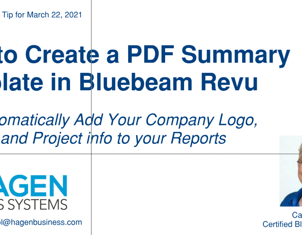 How to create a PDF Summary Template in Bluebeam
